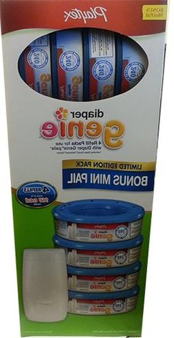 Diaper Genie Essentials Diaper Disposal Mini Pail with 4 Ref