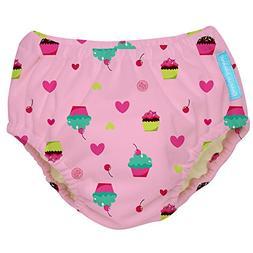 Charlie Banana Reusable Swim Diaper Cupcakes, Baby Pink, X-L