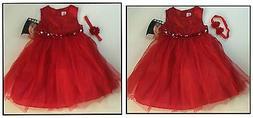 Muneca Fancy Dress Up Party Dress & Headband Set NWT 24 Mo 2