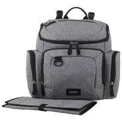 Gray Fabric Finish Multi-Function Diaper Backpack W/ Adjusta