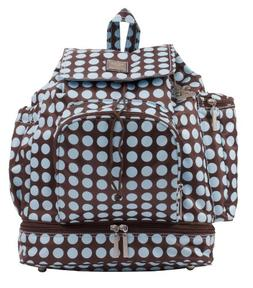 Kalencom Heavenly Dots Diaper Backpack, Chocolate/Blue