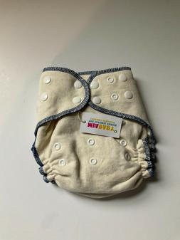 MiaBaby Hemp Cotton Fitted Cloth Diaper blue one size day or