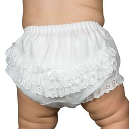 I.C. Collections Baby Girls White Batiste Rumba Diaper Cover