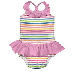 i play. Baby Girls 1pc Ruffle Swimsuit with Built-in Reusabl
