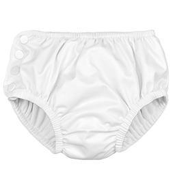 i play. Baby Ultimate Reusable Snap Swim Diaper, White, 6mo