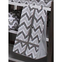 Bacati Ikat Diaper Stacker, Zigzag Grey/White