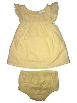 Infant Girls Yellow Sleeveless Lace Summer Baby Dress & Diap