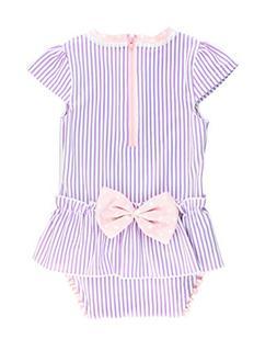 RuffleButts Infant/Toddler Girls Peplum Skirt One Piece Rash