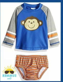 Kiko & Max Baby Boy RashGuard & Swim Diaper Swimsuit Set NWT