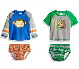 Kiko & Max Baby Boy RashGuard & Swim Diaper Swimsuit Set NWT