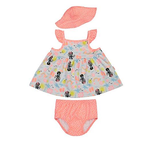 Disney Minnie Mouse Infant Baby Girls' Sunhat Dress and Diap