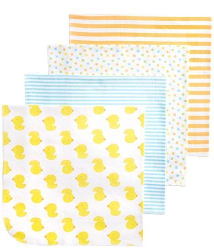 Gerber Unisex-Baby Newborn 4 Pack Neutral Flannel Blanket- D