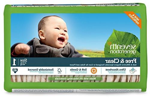 Seventh Generation Free & Clear, Unbleached Diapers, Size 1,