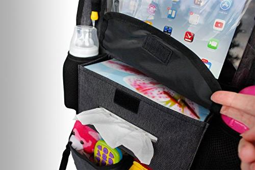 Backseat Car Kids & Wipes with Tablet HOOK, plenty of firm fit, to install, kick mat back of