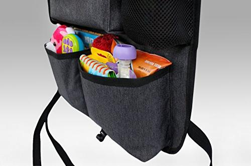 Backseat Organizer Kids & Baby Wipes Tablet HOOK, fabric, plenty firm fit, easy to install, kick mat protector back of