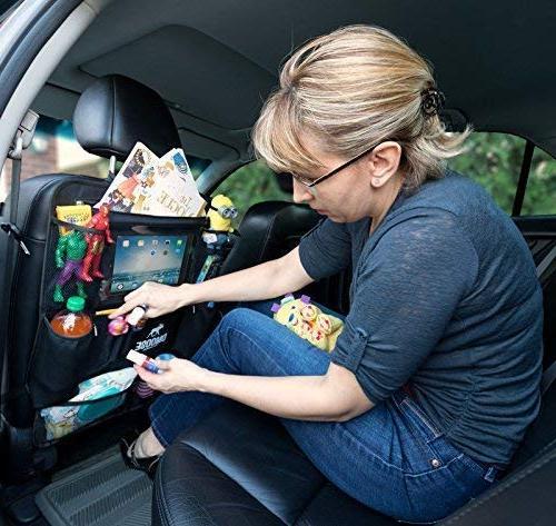 DMoose Car Organizer with Kids Toddlers Large – Strong Buckles Use as Kick Mat, Car