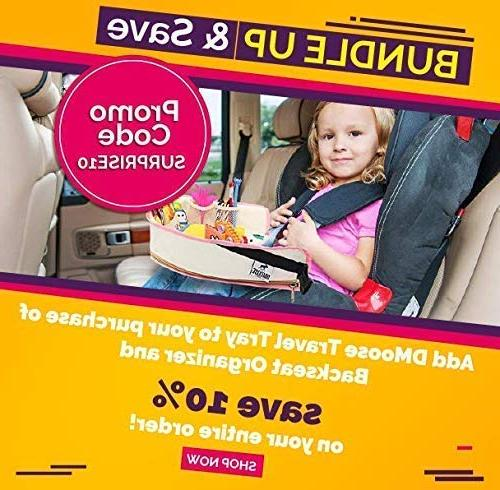 DMoose Car Backseat with Tablet Kids Toddlers – Insulated Thermal Strong Buckles - as Seat Kick Mat, Car