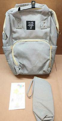 Diaper Bag Backpack Waterproof Insulated Bottle Storage Grey