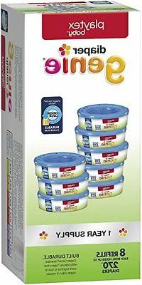 Playtex Diaper Genie One Year Supply Refill Set - 8 Pack. On