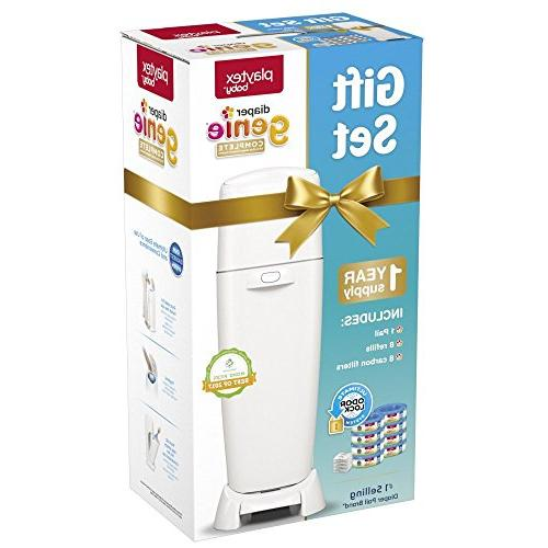 Playtex Diaper Genie Baby Registry Gift Set 1 Complete Diaper Pail, Diaper Genie Carbon for Odor Control