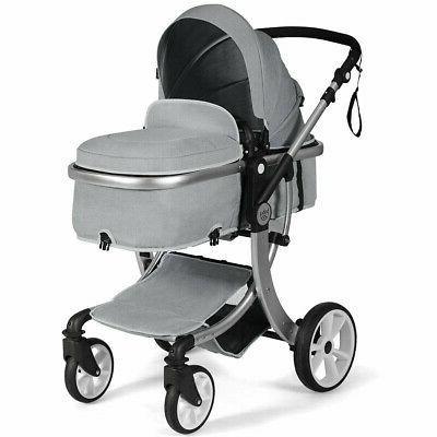 Folding Aluminum Infant Reversible Stroller with Diaper Bag-
