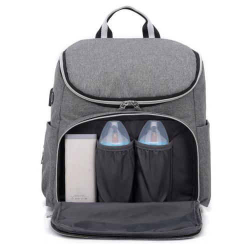 Large Mummy USB/Earphone Port Nappy Travel Backpack Bottle Hold