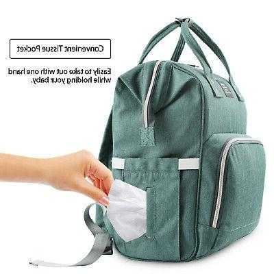 LAND Mummy Diaper Backpack Green Stroller Hooks