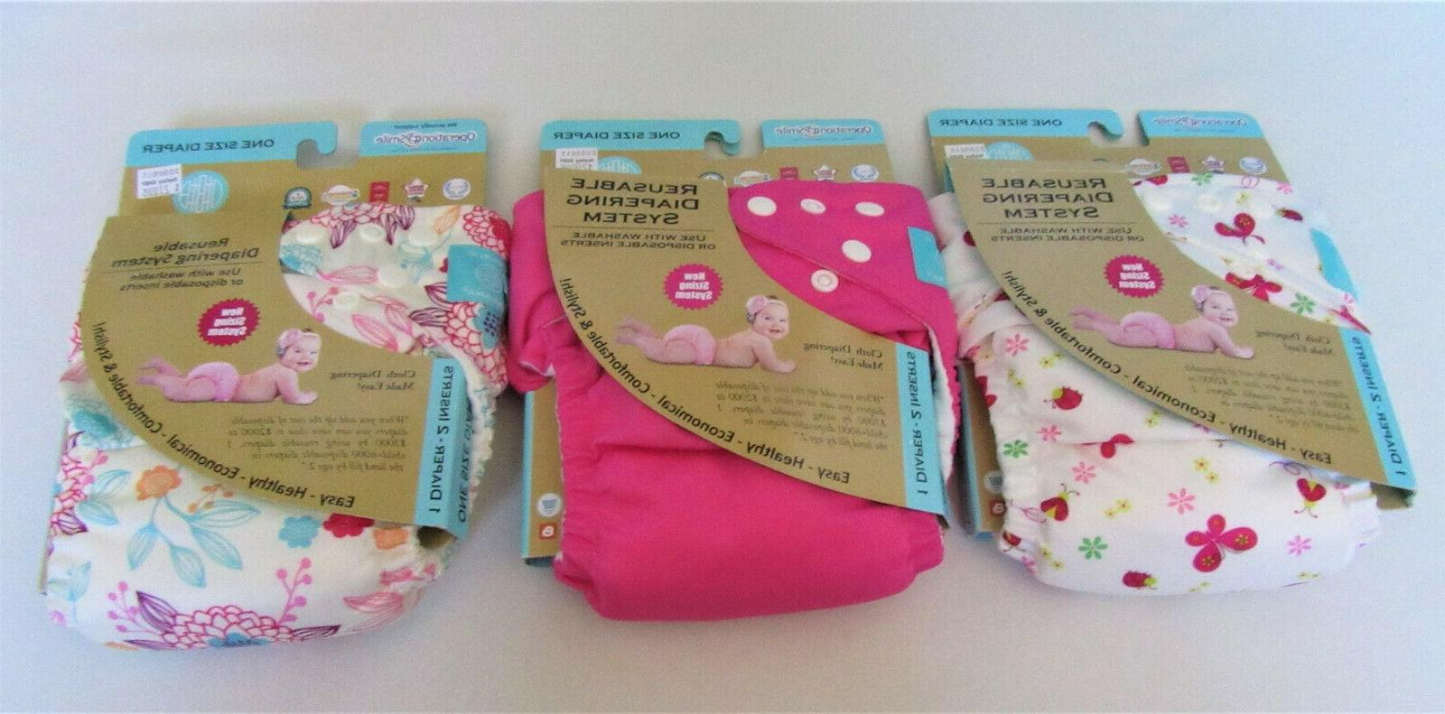 New Adjustable Diaper Lot GIRL 3 diapers