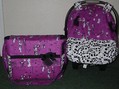 **NIGHTMARE CHRISTMAS car canopy w/matching diaper/tote