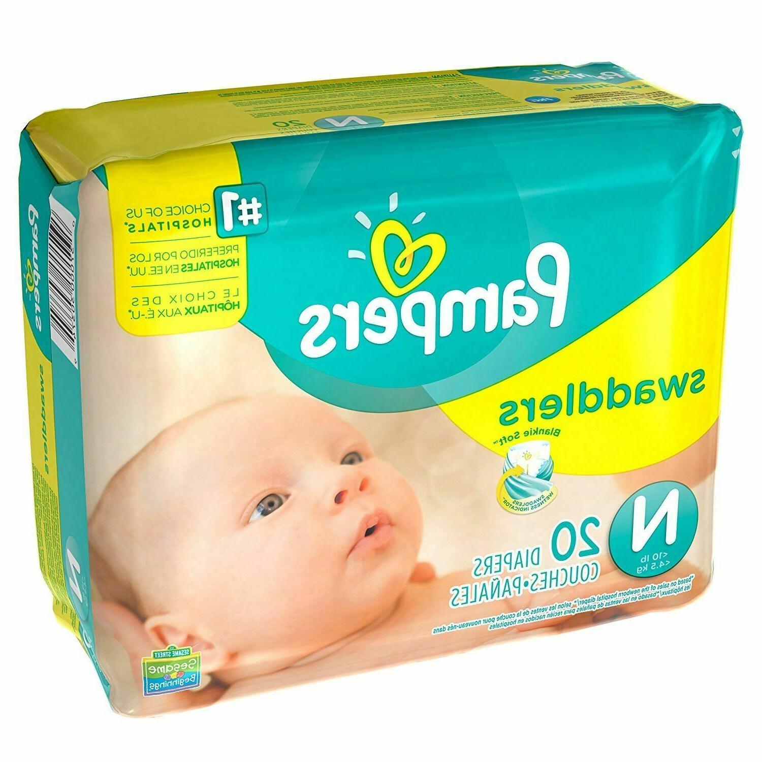 20 Count Pampers Swaddlers Diapers Newborn Up to 10 lbs.