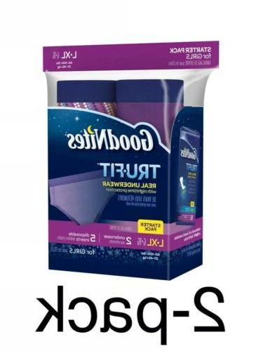 Goodnites Tru-Fit Real Underwear Starter Pack, L/XL, Girls,