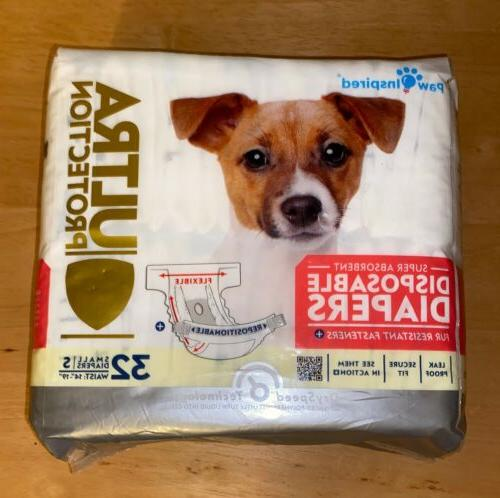 32ct Paw Inspired Ultra Protection Disposable Dog Diapers Fe