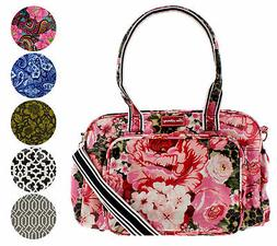 large multi function printed cross body travel