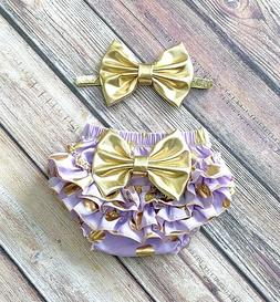 Lavender and gold baby diaper cover SET ruffle bloomer infan
