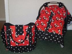 **MICKEY MOUSE** Diaper Bag/tote & Car Seat Canopy-Cover w/s