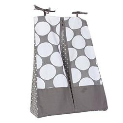 Bacati Mix and Match Dots Diaper Stacker, Grey