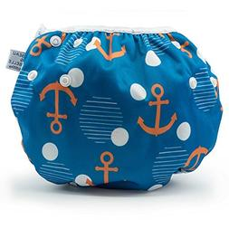 LARGE Nageuret Reusable Swim Diaper, Adjustable & Stylish Fi