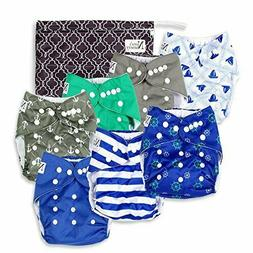 Nautical Baby Cloth Pocket Diapers 7 Pack, 7 Bamboo Inserts,