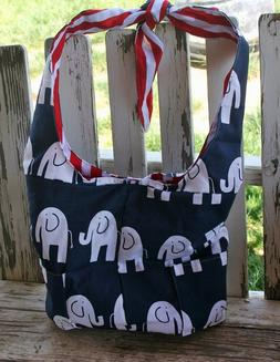 navy blue with w/ elephants and red stripe cotton diaper bag