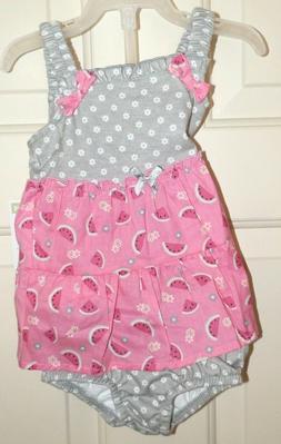 New Baby Girls 0-3 Months 2 Piece Watermelon Dress Set Diape