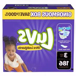 *NEW* Luvs Ultra Leakguards Diapers, Size 3, 186 Count ***FR