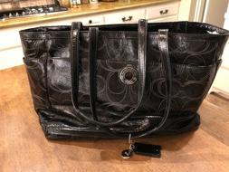 Coach NEW XL Baby Diaper Bag Black Patent Leather Signature