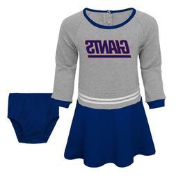 New York Giants NFL Toddler Girls' Blue Gray Dress & Diaper