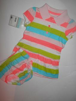 NWT-CARTERS DRESS WITH DIAPER PANTS/-SIZE 6 MONTHS-NEON MULT
