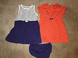 NWT CARTERS Lot 2 Infant Dresses w/ 1 Diaper Cover, Blue/Ora