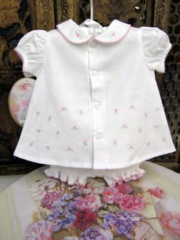 NWT Will'beth White Baby Girls Rosebud Button Front Diaper S