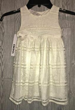 DKNY Off White Lace Sleeveless Dress w/ Diaper Cover Set NEW
