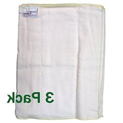 Dandelion Diapers 3 Piece Organic Cotton DSQ Prefolds, White