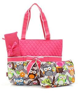 Owl Print Fashion Design Quilted 3-Piece Diaper Bag Handbag