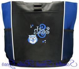 PERSONALIZED Boys Owl Blue Diaper Bag baby Tote beach book m